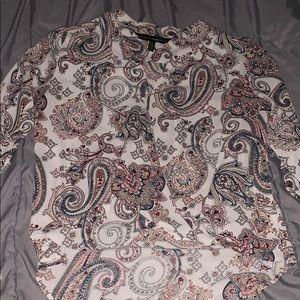 WHBM open long sleeve blouse